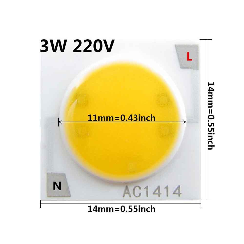 VEEKAYLIGHT Ceramics Base AC 220V 3W 14mm COB DOB Chip Warm